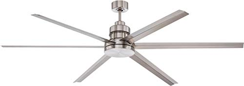 Craftmade Outdoor Ceiling Fan with Remote MND72BNK6 Mondo 72 Inch Large Metal 6 Blade Industrial Fan for Patio, Aluminum from Craftmade