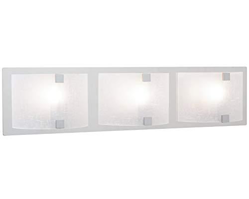 """Kira Home Orion 3-Light Polished Chrome 25"""" Bathroom Vanity Light, White Linen Glass Shades"""