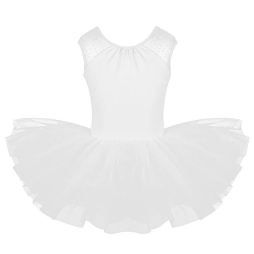 inhzoy Kids Girls Sleeveless Lace Splice Ballet Dance Tutu Dress Gymnastics Leotard Camisole Tank Unitard White -