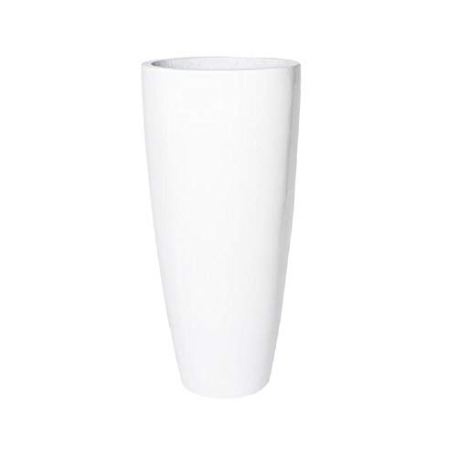 - White Shiny Tapered Tall Planter Cylinder Fiberglass Vase Pot - 41