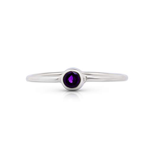 Koral Jewelry Amethyst Round Stone Delicate Ring 925 Sterling Silver Vintage Boho Chic (6) ()