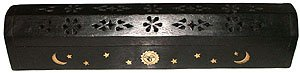 "Wooden Coffin Incense Burner   Black Sun And Moon 12""   Brass Inlays   Storage Compartment by Accessories   Coffin Burners"
