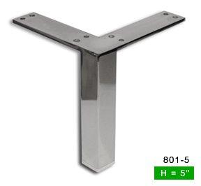 Alpha Furnishings Straight Square Chrome Furniture Sofa Leg 5 Inch