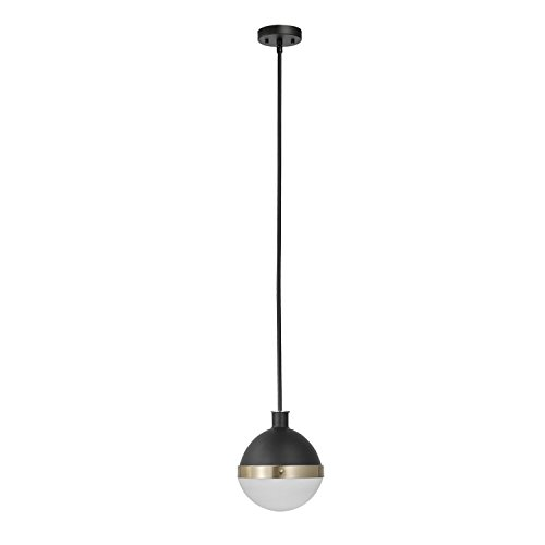 Globe Electric 65773 Bari 1-Light Pendant, Matte Black Finish Accents, Half Opal Glass Shade, ()
