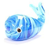 "Blue and White Swirled 2"" Glass Whale Figurine with Gift Box"