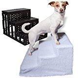 Dog Pet Stairs Steps Indoor Ramp Portable Folding Animal Cat Ladder with Cover (White)