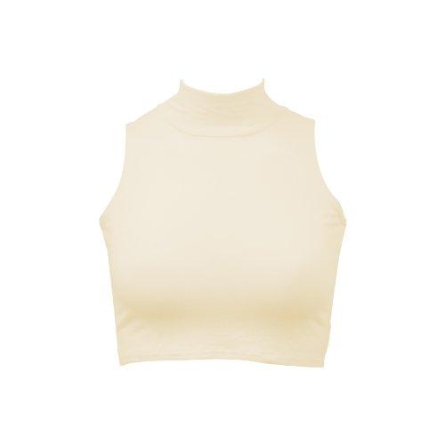 Nuevo top corto para mujer de cuello vuelto sin mangas, camiseta cortada, tallas 36, 38, 40, 42 Off White