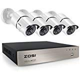 (ZOSI 4CH Full 1080P Video Security Camera System, 4 White Weatherproof 1920TVL 2.0MP Cameras,4 Channel 1080P HD-TVI DVR No Hard Disk (100ft Night Vision, Smartphone& PC Easy Remote Access))