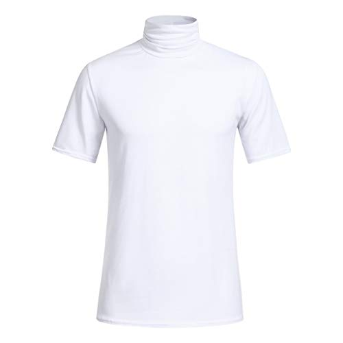 Sunhusing Men's Spring Summer Solid Color Turtleneck Short Sleeve T-Shirt Loose Cozy Blouse Tops White ()