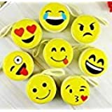 SYSTEM BREAKER™ Cute Smiley Emoji Metal Tin Pouch for Earphone, Coins, Memory Card, Pendrive and Jewellery(Yellow, 8.5x8.5x4.5cm) - Pack of 3