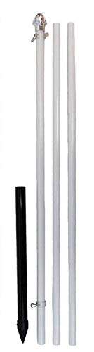 Best Flags 10ft Aluminum (White) Outdoor Pole with Ground Spike