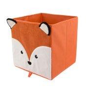 (Animal Print Collapsible Storage bin with Soft Fury Textured Orange Fox)