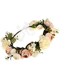 DDazzling Women Flower Headband Wreath Crown Floral Wedding Garland Wedding Festivals Photo Props (Champagne)]()