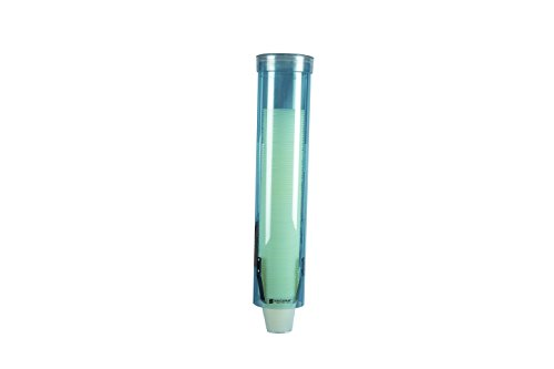 """Price comparison product image San Jamar C3165TBL C3165FBL Medium Pull Type Water Cup Dispenser, Fits 4 to 10 oz Cone and Flat Bottom Cups, 16"""" Tube Length, Transparent Blue"""