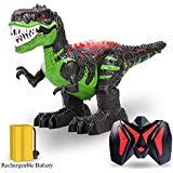 TEMI 8 Channels 2.4G Remote Control Dinosaur for Kids Boys Girls, Electronic RC Toys Educational Walking Tyrannosaurus Rex with Lights and Sounds Powered by Rechargeable Battery, 360° Rotation Stunt