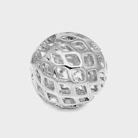 (FILIGREE CUTOUT ROUND BEAD DESIGNER QUALITY choice of plating and size 1mm hole (6mm=50 pcs, Silver Plated))