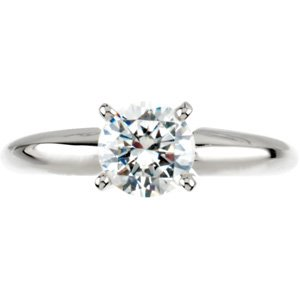 Moissanite Tiffany Solitaire - Exquisite! Women's 14k White-gold 1 ct Round Brilliant Moissanite Solitaire Engagement Ring - 6.5mm Size 11.0