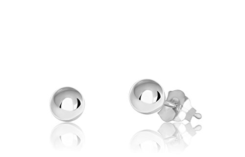 Honolulu Jewelry Company 14K White Gold Ball Stud Earrings (4mm - White - White Gold Jewelry Jewelry