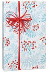 Aqua Blue w/Red Snowflake Berry Sprigs Christmas Gift Wrap Paper - 16 Foot Roll