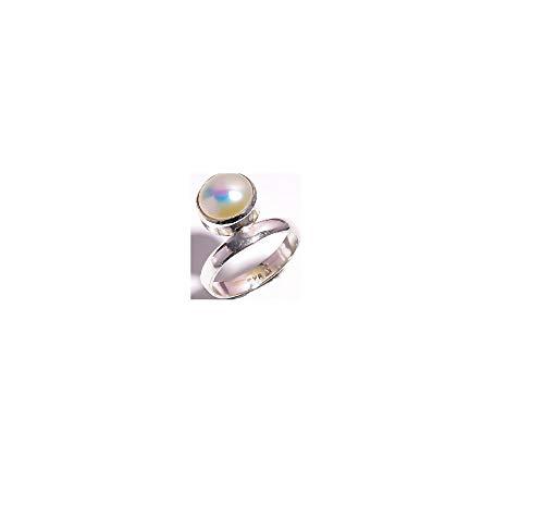 Biwa Pearl Gem - Mughal gems & jewellery 925 Sterling Silver Ring Natural Biwa Pearl Gemstone Fine Jewelry Ring for Women (Size 5 U.S)