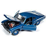 1969 Chevrolet Yenko Nova Blue with White Stripes Limited Edition to 1002 pieces Worldwide 1/18 Diecast Model Car by Autoworld - Diecast Nova Car