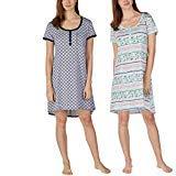 (Jane and Bleecker Ladies' Henley Sleepshirt, 2 Pack (XL, Stripe Navy))
