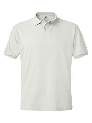 Shirt Pique Collar Polo - Men's 5.2 oz Hanes STEDMAN Blended Jersey Polo,White, Large