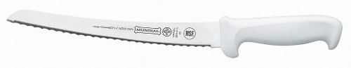 Mundial W5621-10 10-Inch Curved Micro-Serrated Edge Bread Knife, White 1 Bread knife curved with micro serrated edge Also available with a black handle Handle contains built in anti microbial protection