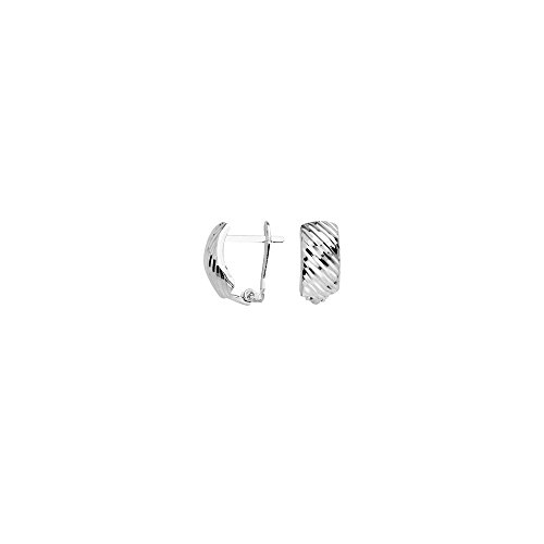 10k White Gold Diagonal Diamond-cut Clip Back Earrings by JewelryWeb