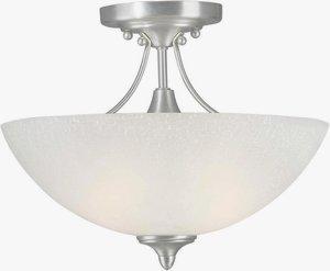 (Forte Lighting 2378-02-55 Transitional 2-Light Semi-Flush with White Linen Glass, Brushed Nickel Finish )