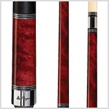 Players C-960 Classic Crimson Birds-Eye Maple with Triple Silver Rings Cue, 19-Ounce