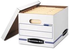 EasyLift Storage Box, Letter/Letter, Lift-Off Lid, White/Blue, 12/Cart