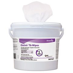 Oxivir TB Disinfectant Wipes, 6 x 7, White, 60/Canister, 12 Canisters/Carton, Sold as 1 Carton, 12 Each per Carton by Diversey