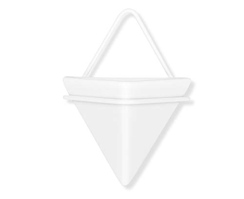 4″H Triangle Ceramic Air Planter Pot Wall Hanging Decor Container,Great for Succulent Cactus Plant Holder Pot Home Decor,White