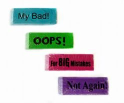 COOL 4 JUMBO ERASERS - NOT AGAIN!, MY BAD!, OOPS!, FOR BIG MISTAKES!
