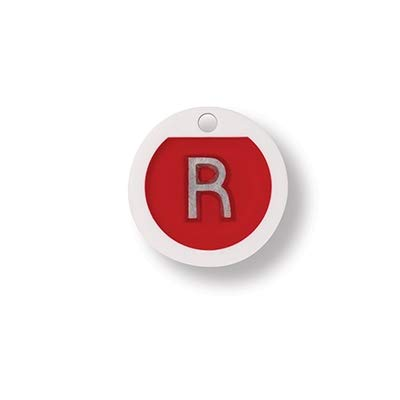 """Plastic Molded Shapes X-Ray Markers - Red, Round, Right ONLY,""""R"""" - 5/8"""""""