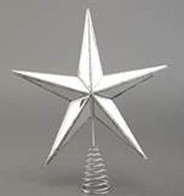"13"" Mirrored Glass/Plastic Silver Star Christmas Tree Topper"