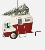 Red Vintage Metal Trailer with Christmas Tree on Top Camper Camping Christmas Tree Ornament