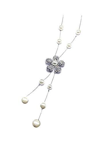 - Nataliya Long Pendant Necklace (Adjustable Multi-Flower Pearl Pendant)