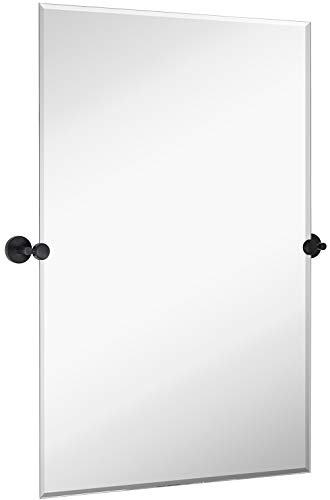 Large Tilting Pivot Rectangle Mirror with Matte Black Wall Anchors | Silver -