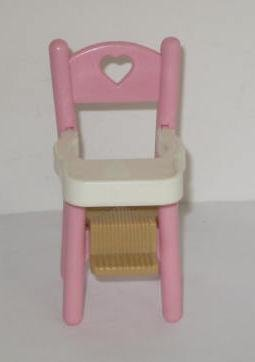 1993 Vintage Fisher Price Pink High Chair Dollhouse Accessory