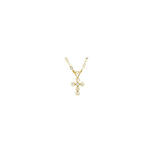 Youth Cubic Zirconia Cross Necklace in 14K Yellow Gold by Eternity Wedding Bands
