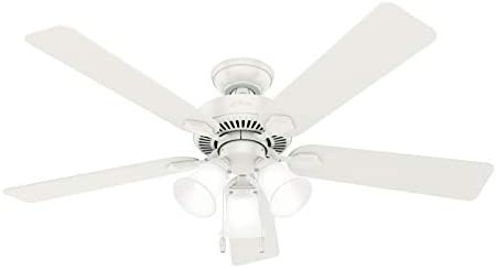 Hunter Swanson Indoor Ceiling Fan with LED Lights and Pull Chain Control, 52″, Fresh White