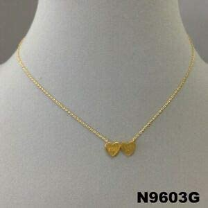 Unique Gold Finish I Love You Triple Heart Charm Design Dainty Collar Necklace Fashion Jewelry for Women Man