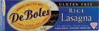 De Boles Gluten-Free Rice Pasta Lasagna - 10 oz by DeBoles Deboles Gluten Free Rice