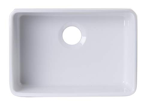 - ALFI brand AB503UM-W White Single Bowl Fireclay Undermount Kitchen Sink, 24