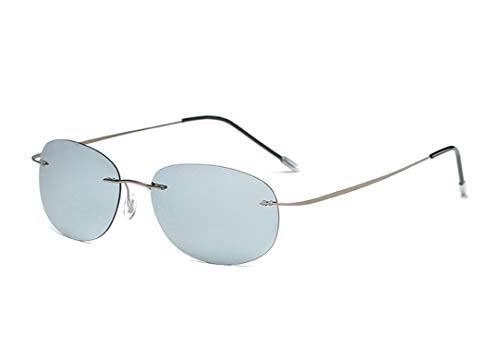 Fashion Men Driving Ultralight Titanium Polarized Sunglasses Rimless Oval Frame Sun Glasses