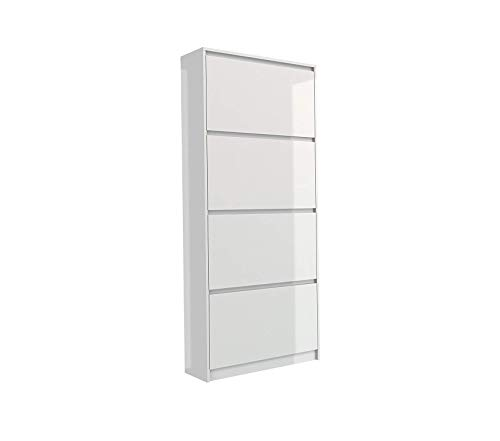 (Home Style Bright 4 Drawer Shoe Cabinet White High)