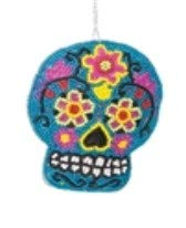 On Holiday Blue Beaded Sugar Skull Day of The Dead Halloween Christmas Tree Ornament]()