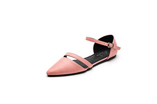 Ashley A Canny Crease Pointed Toe Comfort Slip On Ballet Dress Flats Shoes for Women,Pink 9